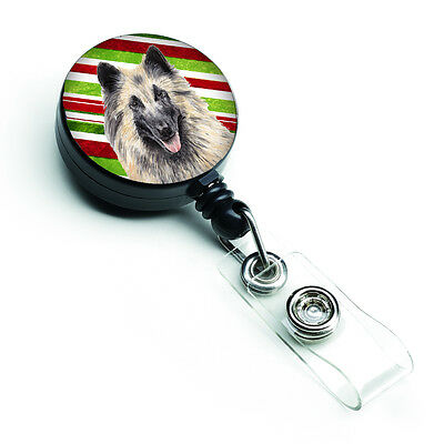 Belgian Tervuren Candy Cane Holiday Christmas Retractable Badge Reel