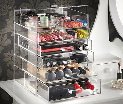 Makeup Cosmetic Organizer Countertop Large Beauty Vanity Case Rack With Drawers