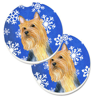 Silky Terrier Winter Snowflakes Holiday Set of 2 Cup Holder Car Coasters