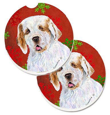 Clumber Spaniel Red and Green Snowflakes Holiday Christmas Set of 2 Cup Holder C