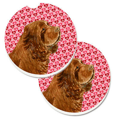 Sussex Spaniel Hearts Love Valentine's Day Set of 2 Cup Holder Car Coasters