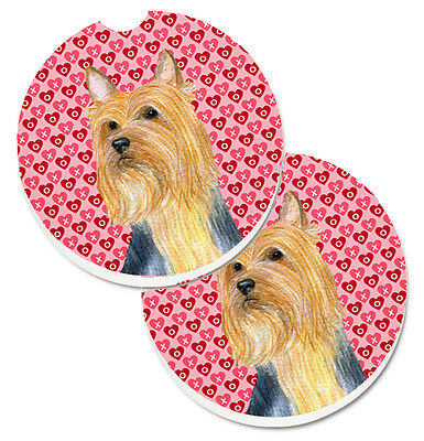 Silky Terrier Hearts Love and Valentine's Day Portrait Set of 2 Cup Holder Car C