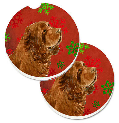 Sussex Spaniel Red Green Snowflake Holiday Christmas Set of 2 Cup Holder Car Coa