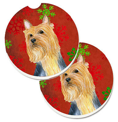 Silky Terrier Red Green Snowflake Holiday Christmas Set of 2 Cup Holder Car Coas
