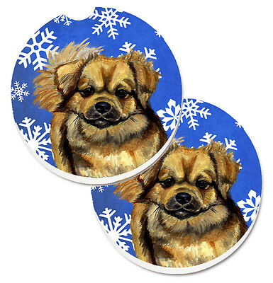 Tibetan Spaniel Winter Snowflakes Holiday Set of 2 Cup Holder Car Coasters