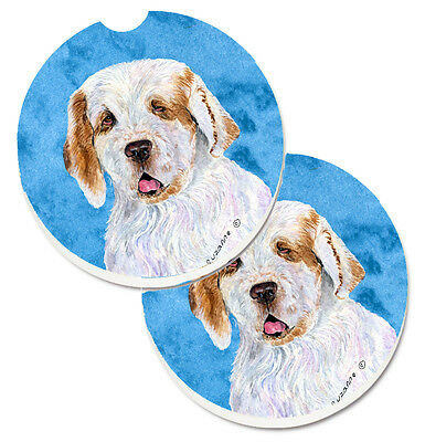 Blue Clumber Spaniel Set of 2 Cup Holder Car Coasters