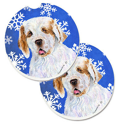 Clumber Spaniel Winter Snowflakes Holiday Set of 2 Cup Holder Car Coasters
