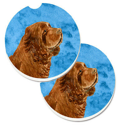 Blue Sussex Spaniel Set of 2 Cup Holder Car Coasters