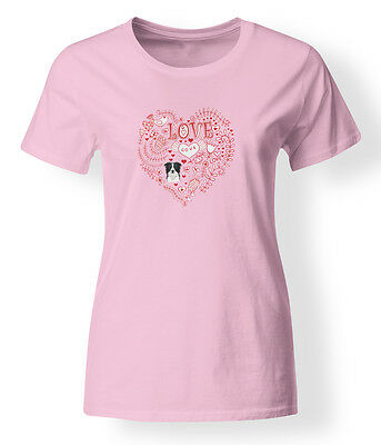 Love Hearts and  Border Collie T-shirt Ladies Cut Short Sleeve Large