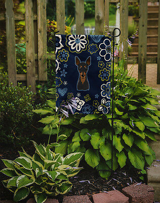 Carolines Treasures  BB5091GF Blue Flowers Min Pin Flag Garden Size
