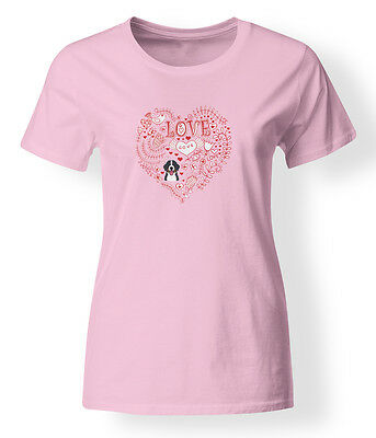 Love Hearts and  Bernese Mountain Dog T-shirt Ladies Cut Short Sleeve Large