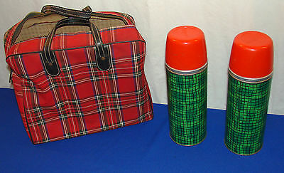 2 vintage HY-LO ALADDIN Metal Thermos (s) -- QT Size -- RUBBER STOPPERS with BAG