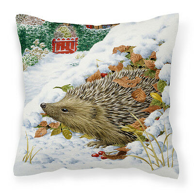 Hedgehog and Red Gate Cottage Canvas Decorative Pillow