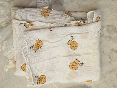 Aden & Anais Muslin Swaddling Cotton Baby Blanket White Gold Lion Target Boy