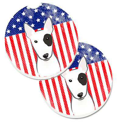 American Flag and Bull Terrier Set of 2 Cup Holder Car Coasters
