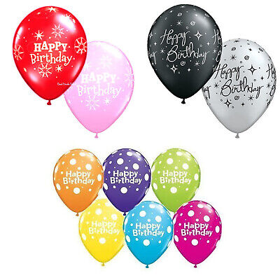 """5* Happy Birthday Balloons (Polka Dot, Black & Silver, Pink & Red) Colour, 11"""""""