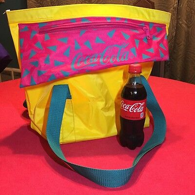 VTG 90s COCA COLA Nylon Bag Yellow Geometric Tote Heavy Duty