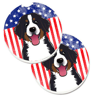 American Flag and Bernese Mountain Dog Set of 2 Cup Holder Car Coasters