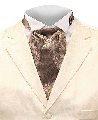Scully Rangewear 100% Silk Puff Tie Cravat Taupe Old West Re-enactment Tombstone
