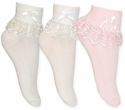 Girls Cream White & Pink Jester Frilly Lace Ankle Socks Pack of 3 or 6 Pair