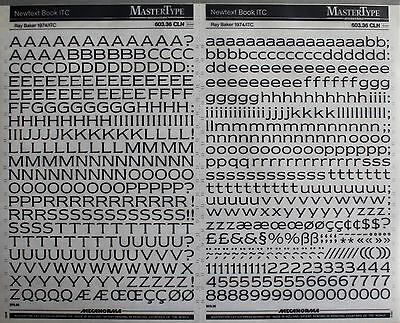 Mecanorma Dry Transfer Lettering Sheet A3, Letraset #8, Newtext Book ITC 10mm