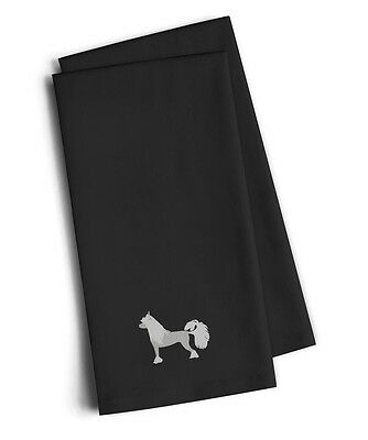Chinese Crested Black Embroidered Kitchen Towel Set of 2