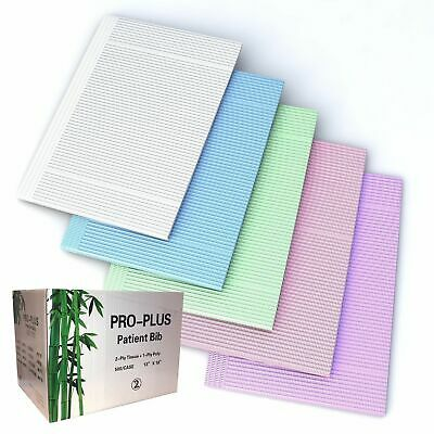 Disposable Dental bibs, 2-ply Tissue + 1-Poly backed, 13x18, 500pc/box
