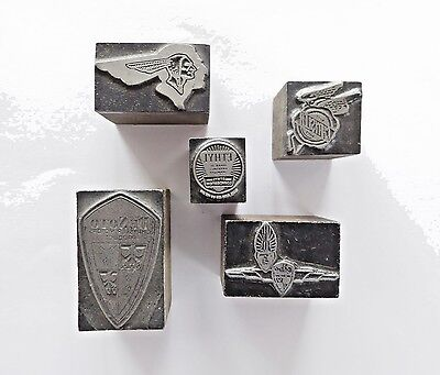 FIVE (5) ANTIQUE, Rare, Wood + Metal Printer Blocks: CAR SYMBOLS +  CAR CLUBS