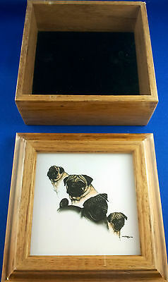 Collectible Pug Dog Wooden Framed Picture Trinket Box Notes and Pen