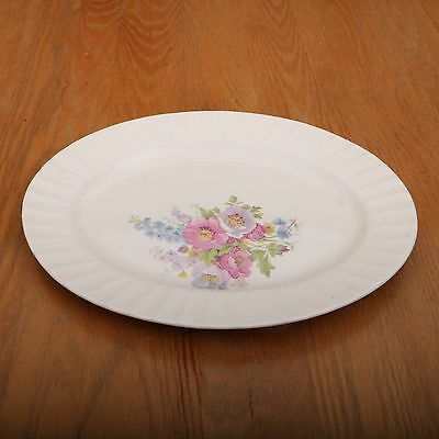Vintage Edwin M. Knowles Flower Pattern Large Serving Platter Made In USA