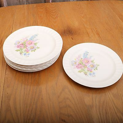 8 Vintage Edwin M. Knowles Flower Pattern Dinner Plates Made In USA