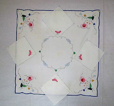 Primitive Antique Hand Made/Sewn Decorative Applique Table Cloth and napkins