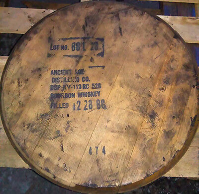 Bourbon Whiskey Barrel Heads, VINTAGE 1980s ANCIENT AGE w/Official Dist. Stamp!