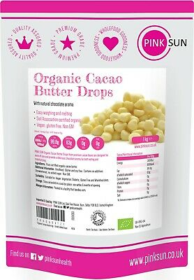 Organic Cacao Cocoa Butter Drops Pure Unrefined Raw Chocolate Making 500g 1kg