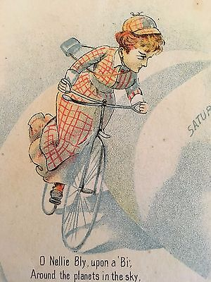 1890 NELLIE BLY ON BICYCLE Rare Quackery TRADE CARD PIONEERING WOMAN JOURNALIST