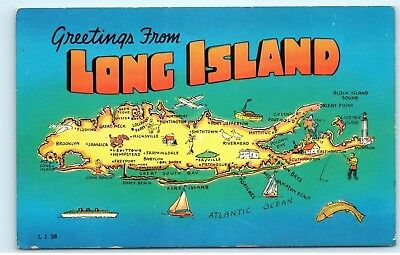 Greetings From Long Island New York Ny Map Vintage Postcard B50