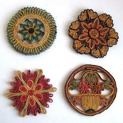 Lot of 4 Vintage Straw Trivets Pink Blue Green Flowers Mid Century Wall Art 177