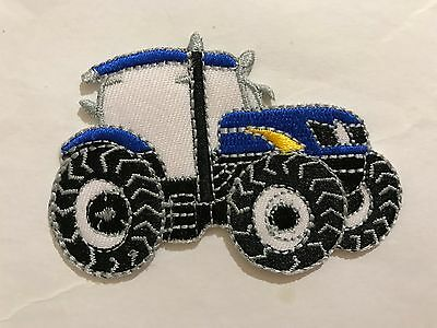 Iron On// Sew On Embroidered Patch Badge Tractor Farm Farmer Blue