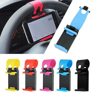 Universal Car Steering Cradle Stand Wheel Clip Mount Holder For Mobile Phone GPS