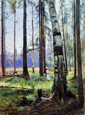 Oil Shishkin Ivan Ivanovich - Young woman in forest landscape Hand painted art