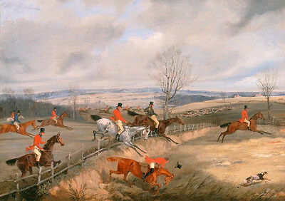 """Oil painting Horse Racing horserace race horsemen with dogs no framed canvas 36"""""""