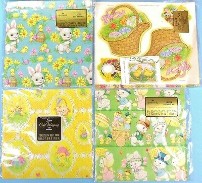 4 Packages VINTAGE EASTER GIFT WRAP Paper HALLMARK Current BUNNIES