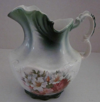 "Vintage Harvard Porcelain Floral Water Pitcher White Green Pink 6.5"" x 4.5"" Inch"