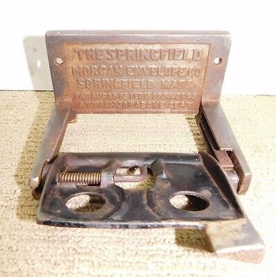 Antique Cast Iron Toilet Tissue Paper Holder Springfield Morgan Envelope Co 1893