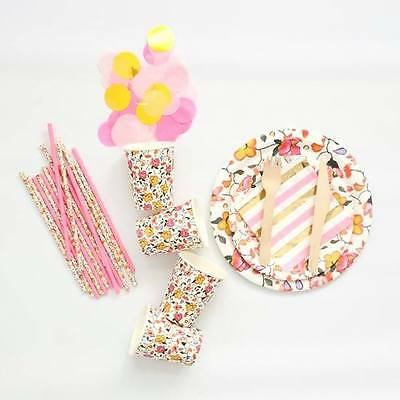Floral Party Supplies Bundle - Paper Cups, Plates, Straws, Napkins, Wood Cutlery