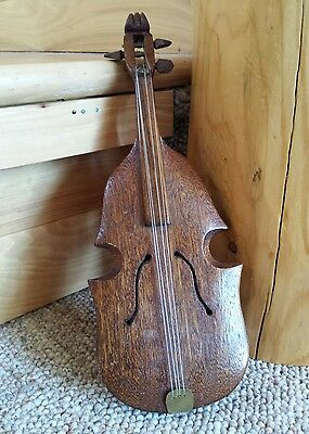 "VTG Hand Carved Bass Violin 10"" Solid Mahogany Wood Sculpted Musical Indtrument"