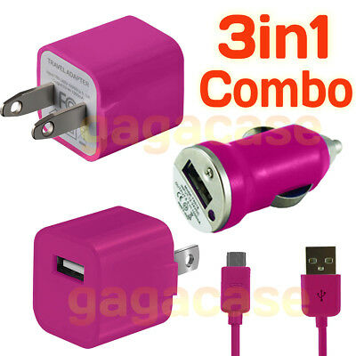 PK 3In1 Car Charger,Power Adapter &USB Cable Samsung Galaxy S3 S4 S5 S6 S7 edge