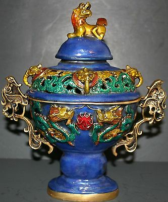 Large Chinese Ming Xuande Cloisonne Handcrafted Dragon Incense Burner w Lion Lid