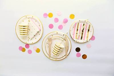 Gold Polka Dot Party Supplies - Paper Cups, Plates, Straws, Napkins,Wood Cutlery