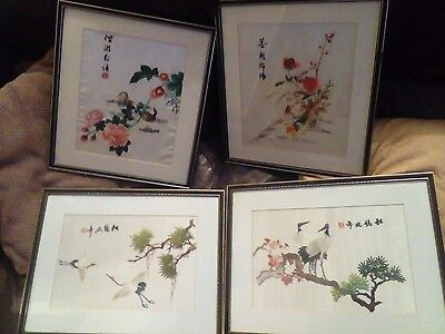 Antique Chinese Silk Embroidery Framed x4